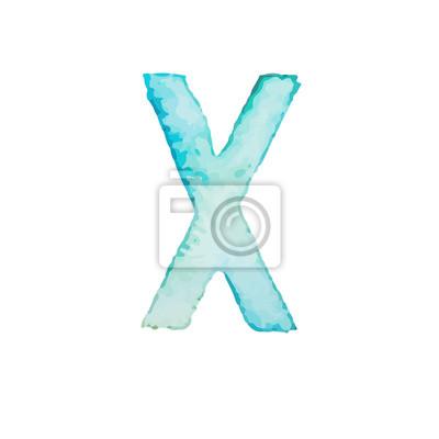 Letter X Colorful watercolor aquarelle font type handwritten