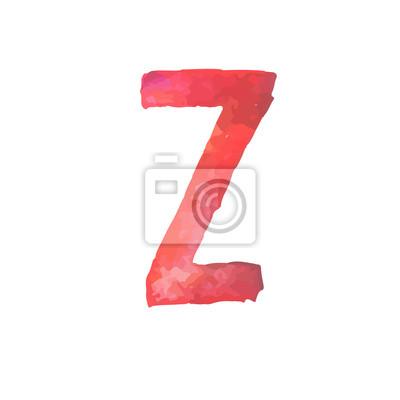 Letter Z Colorful watercolor aquarelle font type handwritten