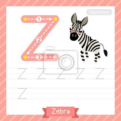 Letter z großbuchstaben übungsarbeitsblatt mit zebra für kinder ...