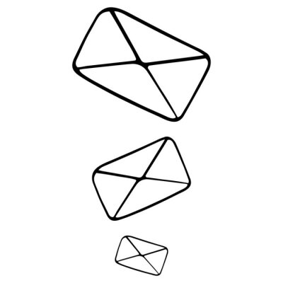 Letters in an envelope. Email. Vector illustration. Contour on an isolated white background. Doodle style. Sketch. Sending a message to the recipient. Distribution of messages.
