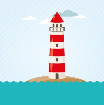 Fototapete Leuchtturm an Küste Vektor