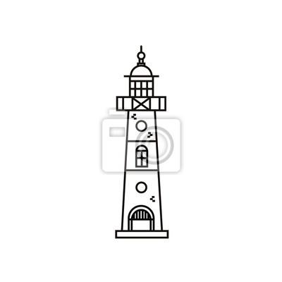 Leuchtturm flache Liniensymbol im minimalistischen Design. Vektor-Illustration von Leuchtfeuer auf weißem hintergrund isoliert.