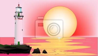 Leuchtturm-Sonnenuntergang