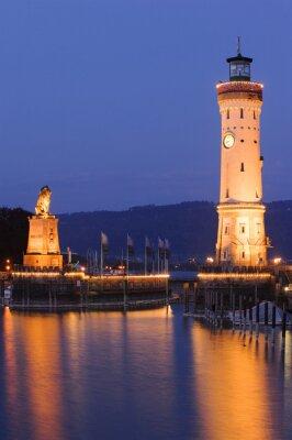 Fototapete Leuchtturm von Lindau am Bodensee bei Nacht