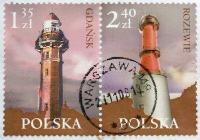 Leuchttürme auf zwei Briefmarken aus Polen