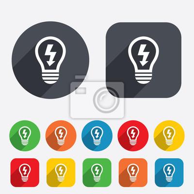 Licht lampe symbol. lampe mit blitzsymbol fototapete • fototapeten ...