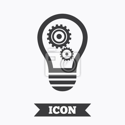 Licht lampe zeichen-symbol. glühbirne mit zahnrad-symbol. fototapete ...
