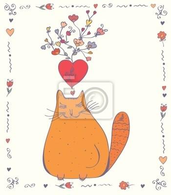 Liebe Karte mit Katze, Herzen und Blumen