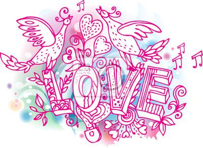 Liebe skizzenhaft mit Vögeln und Herzen