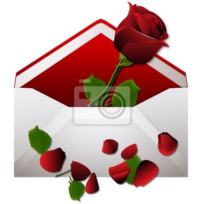 Liebe Umschlag mit roter Rose