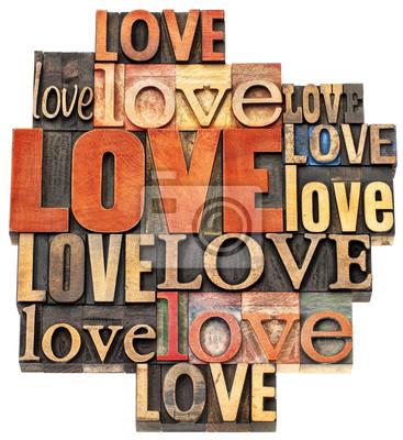 Liebe Wort Zusammenfassung in Holz-Typ