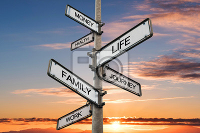Fototapete Life balance choices signpost, with sunrise sky backgrounds