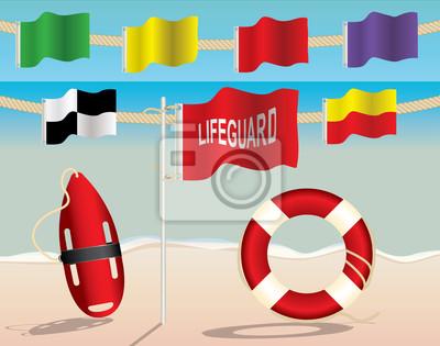 Lifeguard Ausrüstung und Warnung Flags on the Beach