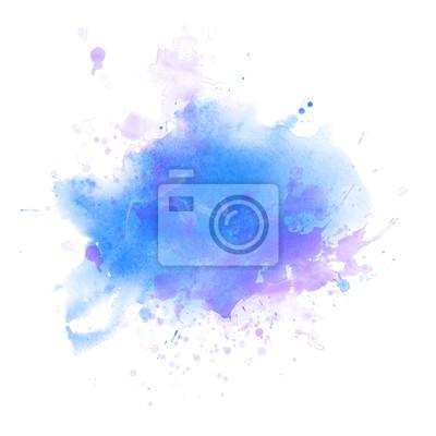 Fototapete Light Blue watercolor splash backround isolated on white