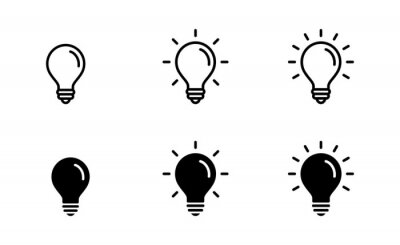 Fototapete Light Bulb icon set, Idea icon symbol vector