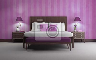 Fototapete Lila Schicke Luxus Schlafzimmer 3d Render Lila Tapeten  Vorderansicht