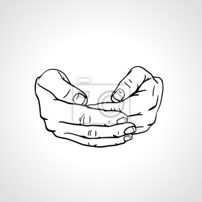 Line art drawing hands, cupped palms