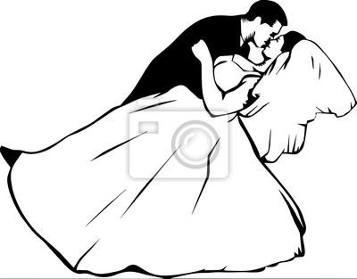 Line Art - romantisches Küssen in der Hochzeit