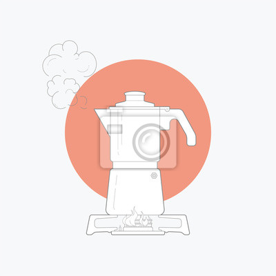 line art vector illustration kitchen moka pot. isolated white background. Vector illustration design for t-shirt graphics, posters, brand books and other uses