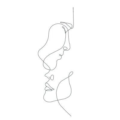 Fototapete line drawing faces, fashion concept, woman beauty minimalist, vector illustration for t-shirt, slogan design print graphics style