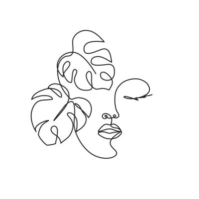 Fototapete Line drawing of the profile of a woman with flowing hair and flowers, for organic cosmetics