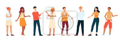 Fototapete Line of young people standing and talking, flat cartoon character set isolated on white background