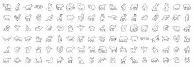 Fototapete Linear collection of Animal icons. Animal icons set. Isolated on White background