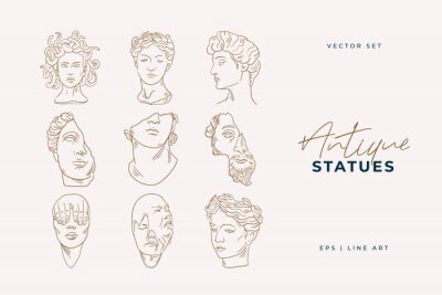 Fototapete Linear drawings of heads of antique statues of the goddess and mythical god in the engraving style. Creative minimal linear woman vector with growing branch from her head.