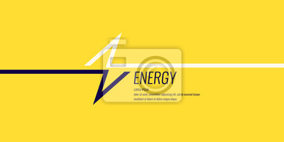Fototapete Linear image of lightning on a flat yellow background with text.
