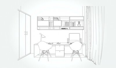 Fototapete Linear sketch of an interior. Sketch Line bed room . Vector illustration.outline sketch drawing perspective of a interior space