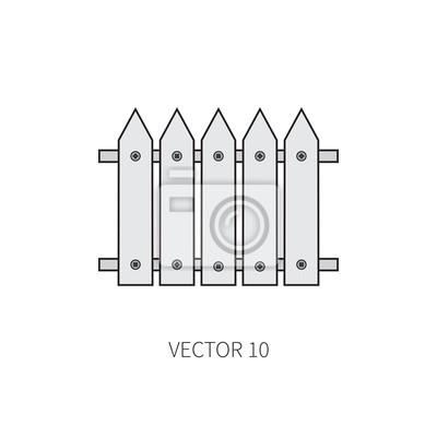 Linie Flache Farbe Vektor Symbol Garten Werkzeug Zaun Cartoon