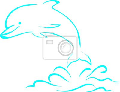 Linie Kunst - der Delphin auf dem Meer