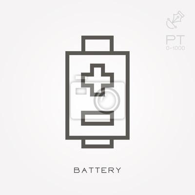 Linie symbol batterie fototapete • fototapeten wiederaufladbare ...