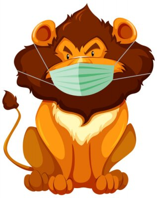 Lion cartoon charater wearing mask