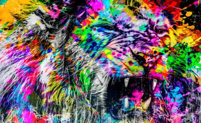 Fototapete lion head with creative abstract elements on dark background