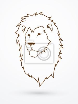 Lion kopf umriss grafik-vektor fototapete • fototapeten Abzeichen ...
