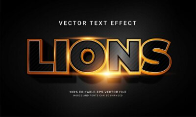 Fototapete Lions editable text style effect with animal wild life theme