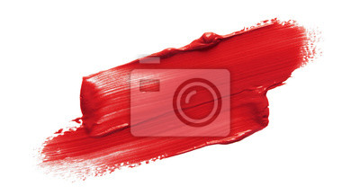 Fototapete Lipstick smear smudge swatch isolated on white background. Cream makeup texture. Bright red color cosmetic product brush stroke swipe sample