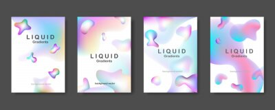 Liquid Gradient color background design. Set of poster covers with color vibrant gradient background. Futuristic design posters. Eps10 vector.