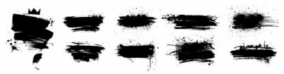 Fototapete Liquid paintbrush set. Isolated black ink stains and brush marks with dirty stains. Grunge silhouette brushstroke with drops blots. Set Vector brush paint. Boxes with spray graffiti and frame for text