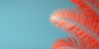 Fototapete Living Coral color of the Year 2019. Background with palm in trendy color