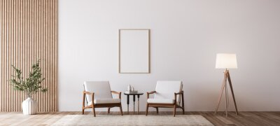 Fototapete Living room design with empty wall mockup, two wooden chairs on white wall, copy space