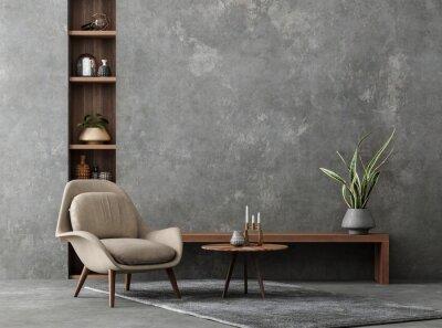 Fototapete Living room interior in loft, industrial style, 3d render