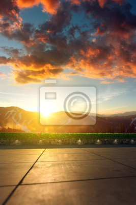 Location with mountain scenery in the background. 3d render location background. landscape unfocused, tile floor in focus
