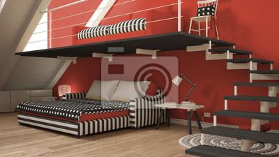Fototapete Loft Mezzanine Ein Zimmer Minimalistischen Wohn Und Schlafzimmer,  Weiß Und Rot Skandinavischen Innenarchitektur