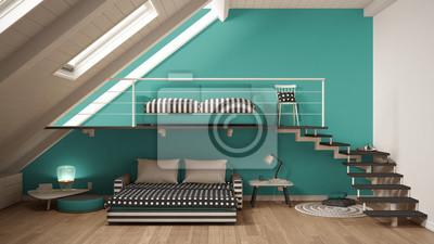 Fototapete Loft Mezzanine Ein Zimmer Minimalistischen Wohn Und Schlafzimmer,  Weiß Und Türkis Skandinavischen Innenarchitektur