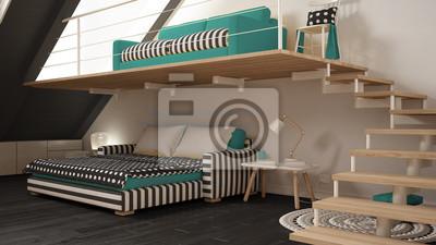 Loft Mezzanine Ein Zimmer Minimalistischen Wohn Und Schlafzimmer