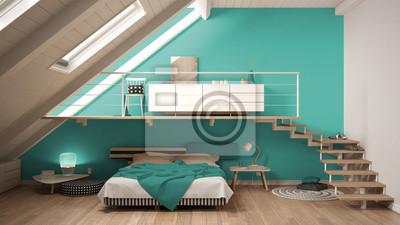 Fototapete Loft Mezzanine Skandinavischen Minimalistischen Schlafzimmer,  Bunte Türkis Klassischen Innenarchitektur