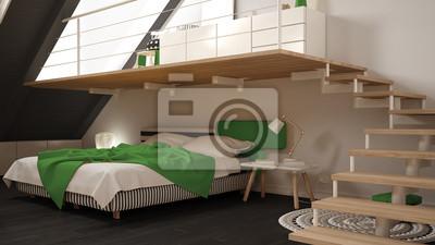 Loft Mezzanine Skandinavischen Minimalistischen Schlafzimmer