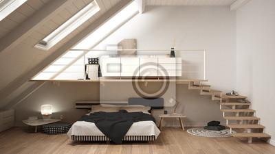 Fototapete Loft Mezzanine Skandinavischen Minimalistischen Schlafzimmer,  Weiße Klassische Innenarchitektur